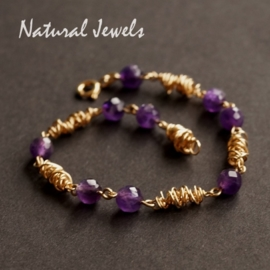 Gouden armband Ametist Cocoon