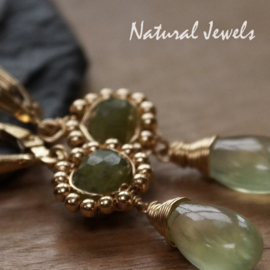 Goldfilled oorbellen Adorned Green