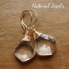 Bergkristal edelsteen oorbellen
