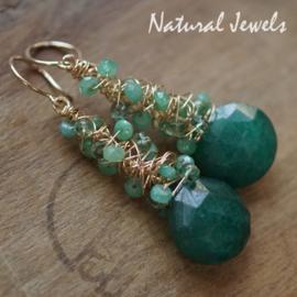 Groene edelsteen oorbellen goud - gereserveerd