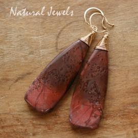 Rode edelsteen oorbellen