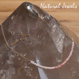 Roze Opaal halsketting goud