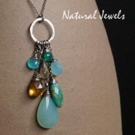Zilveren handgemaakte hanger Bunch of gemstones