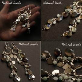 zilveren oorbellen stroom van Labradoriet en Amazoniet