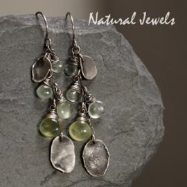 Zilveren oorbellen Fading Green