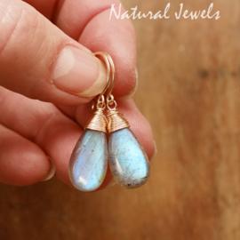 Gouden Labradoriet oorbellen blauw
