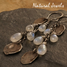 Zilveren oorbellen Ancient Moonstone