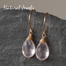 Gouden oorbelletjes Roze Ametist