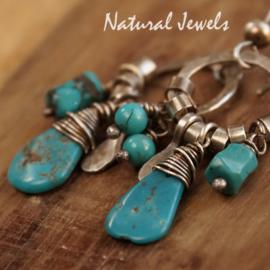 Zilveren robuuste oorbellen Turquoise