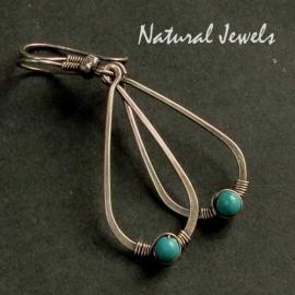 Turquoise oorbellen zilver