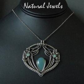 Necklace Blue Chalcedoney