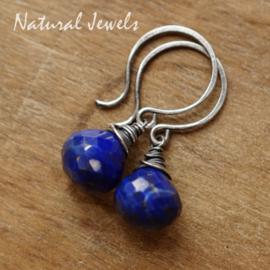 Zilveren oorbellen Lapis Lazuli onion