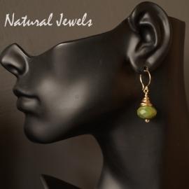 14K Goldfilled oorbellen Groene Jade