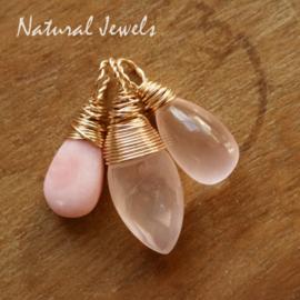 Roze edelsteen hangertjes