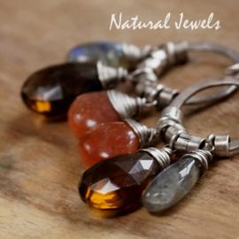 Zilveren oorbellen Robust Orange-Brown