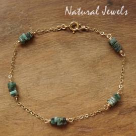 Smaragd armbandje goud