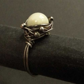 Pimped and oxidized Silver Ring Mother of Pearl