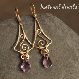 Gouden oorbellen Lovely Lilac