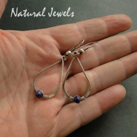 Hammered Drops with Lapis Lazuli