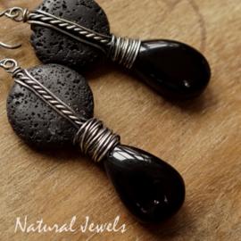 Lava en Onyx oorbellen