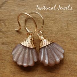 Bruine edelsteen oorbelletjes  goud