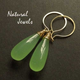 Earrings Green Chalcedoney