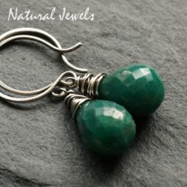 Zilveren oorbellen Smaragd brioletten