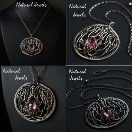 Zilveren halsketting Pink Quartz
