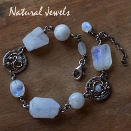 Maansteen armband zilveren ornamenten