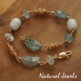 Gouden armband Aquamarijn