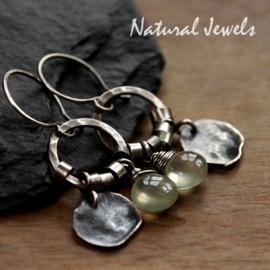 Gereserveerd - Zilveren oorbellen ancient Prehnite