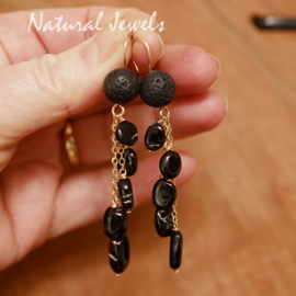Zwarte edelsteen oorbellen