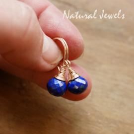 Goldfilled oorbellen Lapis Lazuli onion