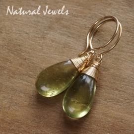 Gouden oorbellen Groene Apatiet