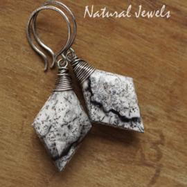 Dendriet opaal zilveren oorbellen