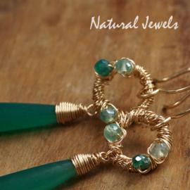 Gouden oorbellen Groene Onyx