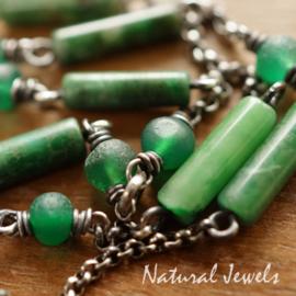 Groene edelsteen armband zilver