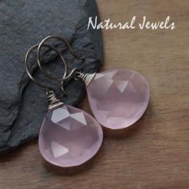 zilveren oorbellen Roze Chalcedoon Brioletten