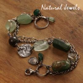 zilveren armband groene edelstenen