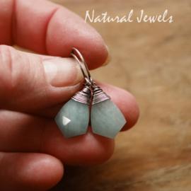 Blauwe edelsteen oorbellen zilver