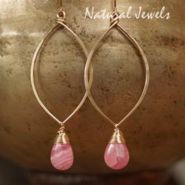 Roze edelsteen gouden oorbellen