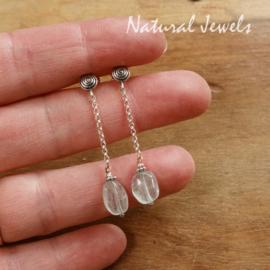 Aquamarijn zilveren oorbellen