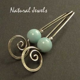 Silver Earrings Amazonite Spirals Hooks