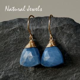 Gouden oorbellen blauwe Opaal