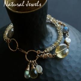 14K Goldfilled armband met Citrien, Labradoriet en Parelmoer