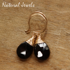 Goldfilled oorbellen Zwarte Spinel