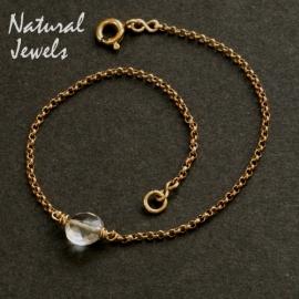 Gouden armbandje of enkelbandje met lichtblauwe Kwarts