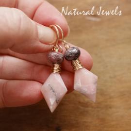 Roze Opaal oorbellen goud