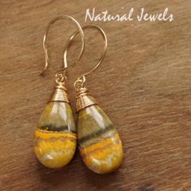 gouden oorbellen Bumble-bee Jaspis
