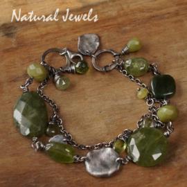 Zilveren groene edelsteen armband